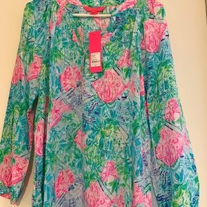 Lilly Pulitzer Bohemian Queen 100% Silk Shirt - S